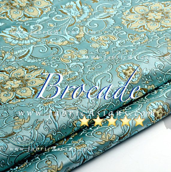 Chinese brocade. Lotus pattern. Aqua Base. Water lily fabric