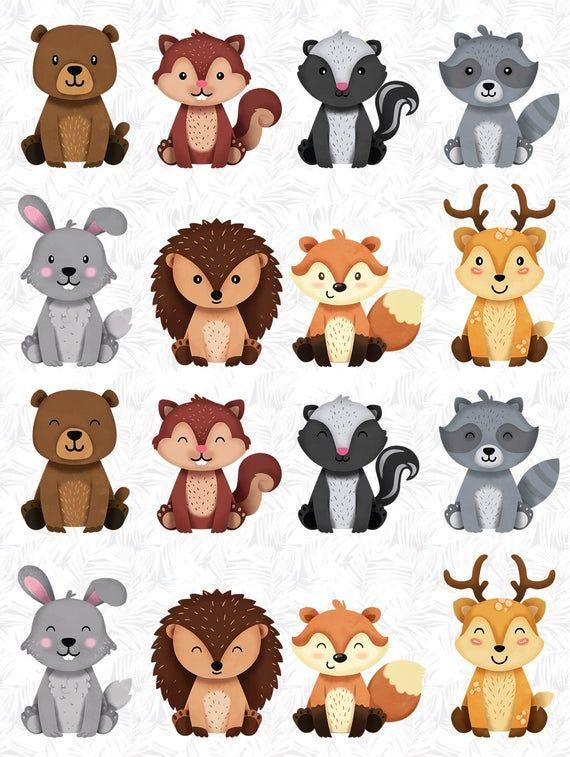 Animaux de la forêt des cliparts, autocollant mignon, autocollant d'amis de la forêt, buddiess animal, animal sympathique, digital clipart, clipart woodland