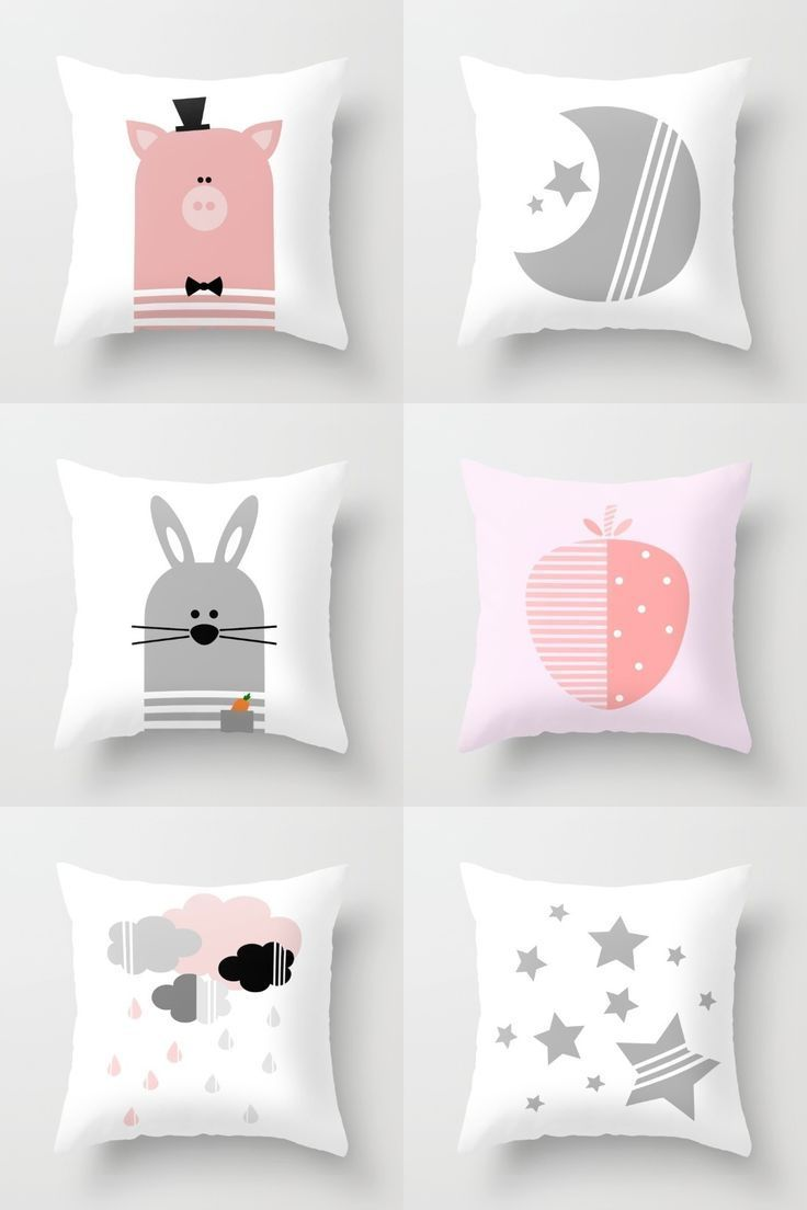 Pink And Gray Nursery Or Kids Room Decorative Throw Pillows On