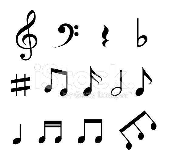 Conjunto de ilustração de notas musicais - arte vetorial de acervo royalty-free