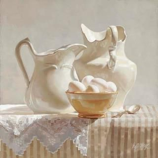 Still life white on white [Does anyone know the artist for this piece? It's definitely not Egon Schiele. Thanks - MS]