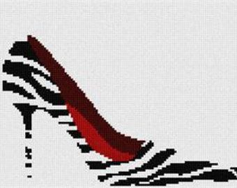 Zebra Shoe Needlepoint Canvas by Pepita