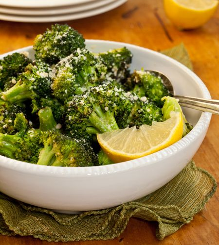 garlicky roasted broccoli with parmesan