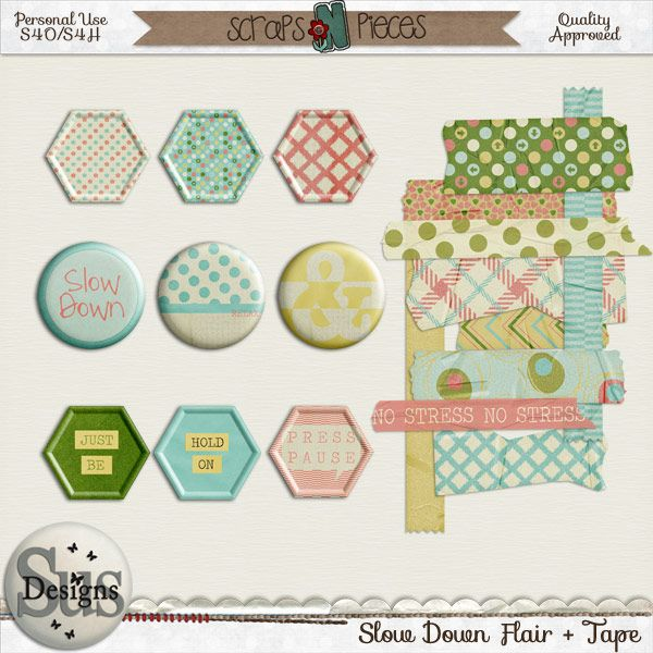 Slow Down Flairs & Tape #SusDesigns #DigiScrap #Scrapbook #ScrapsNPieces