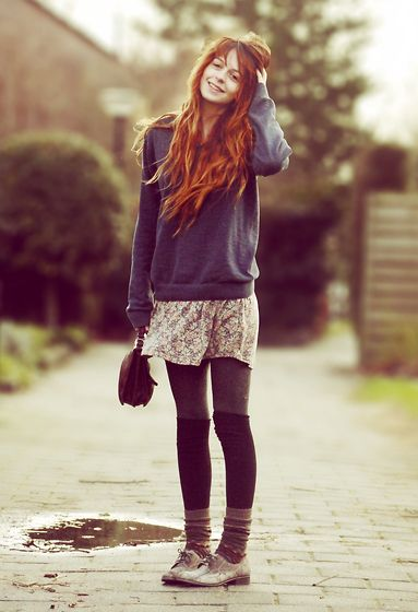 Sock layering: Winter Layered, Autumn Outfits, Hair Colors, Autumn Dresses, Red Hair, Cozy Outfits, Cute Outfits, Fall Outfits, Blue Tights