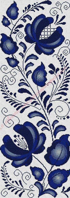 Gráfico a punto de cruz - Cenefa vertical en tonos azules 25 x 70 cm