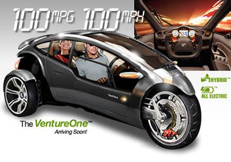 Introducing the VentureOne, a revolutionary 3-wheel, tilting, plug-in Hybrid vehicle. This unique 2-passenger flex-fuel Hybrid vehicle will achieve 100 miles per gallon, accelerate from 0-60 in