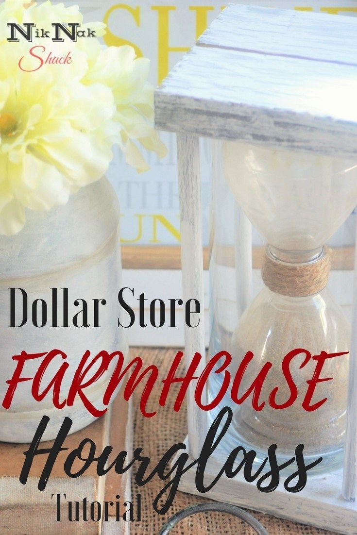 DIY Dollar Store Farmhouse Hourglass tutorial! It's made from water bottles! Love these simple DIY home decor projects! I'm totally making this! #DIYHomeDecorDollarStore