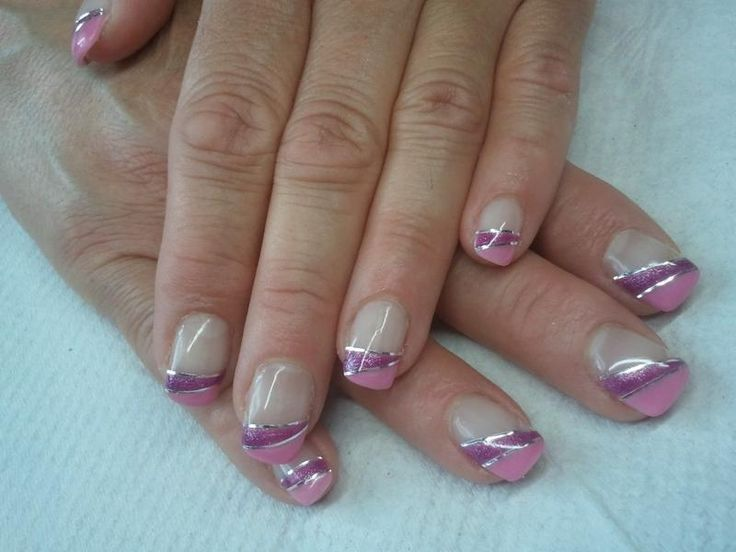 Pink french with silver striping tape nail art #nails
