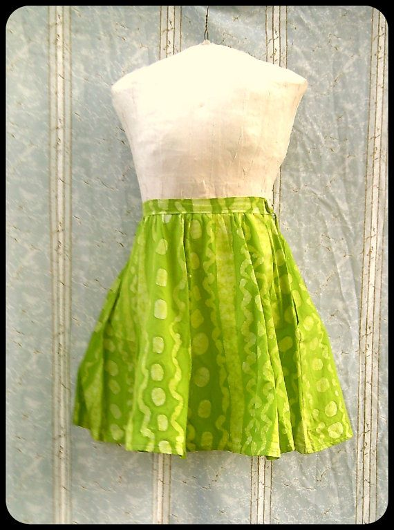 Batik Pleated Skirt  Medium  Hand Dyed  Lime Green by GraceAtieno, $45.00