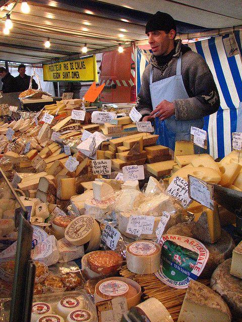 Paris market cheese stall.