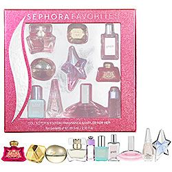 """Want a new spring fragrance? Sephora sells this sampler of mini bottles of fragrances. Pick your scent and go buy it with the included gift certificate for the full sized product. A great gift for you or the """"her"""" in your life."""