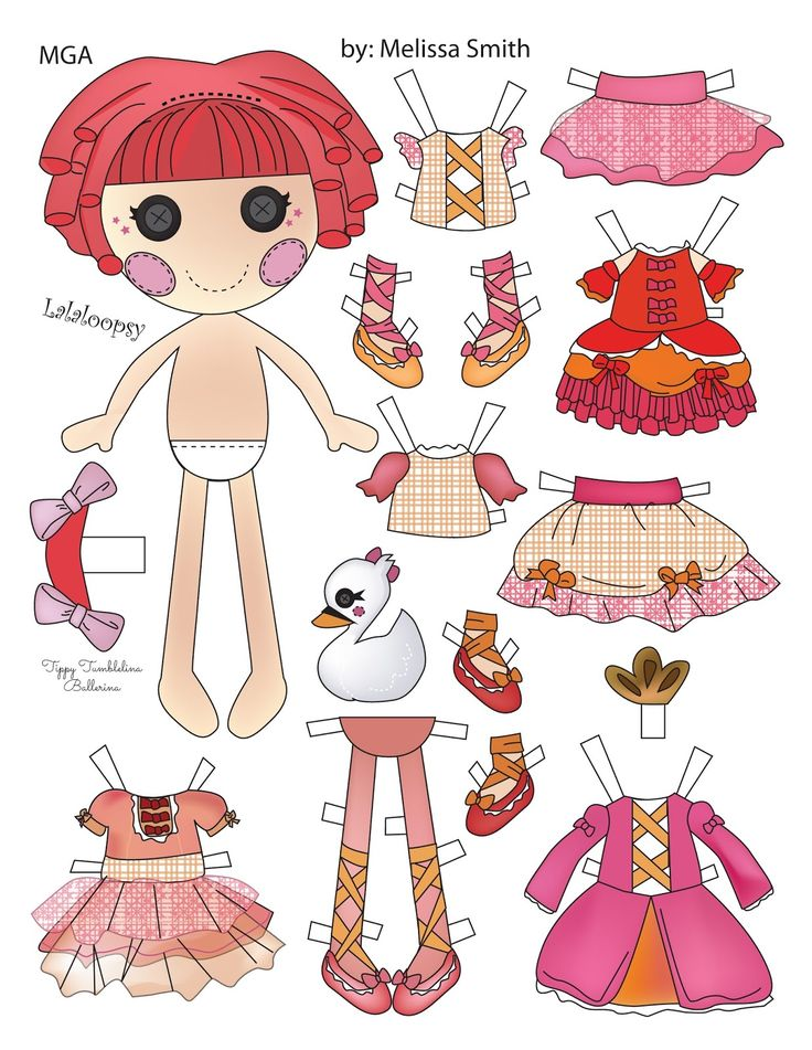 Here is Tippy Tumbelina, the ballerina lalaloopsy doll.  She is drawn in Adobe Illustrator.  The doll has 2 tops and 2 skirts along with 3...
