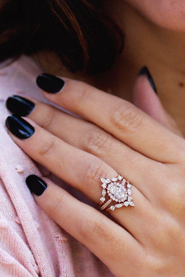 Oval Diamond Halo Unique Engagement Wedding Rings Set Art Deco