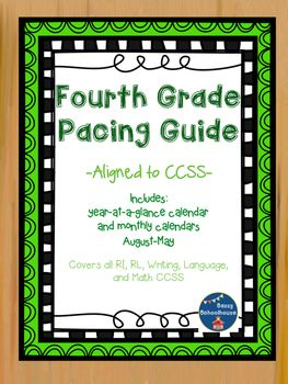 """Great for teachers new to 4th grade or new to CCSS!I created this pacing guide to assist me in making sure I teach all the fourth grade CCSS by the end of the year. Included is a """"year-at-a-glance"""" calendar that I keep on my bulletin board to remind me what students should have mastered and what is coming up."""