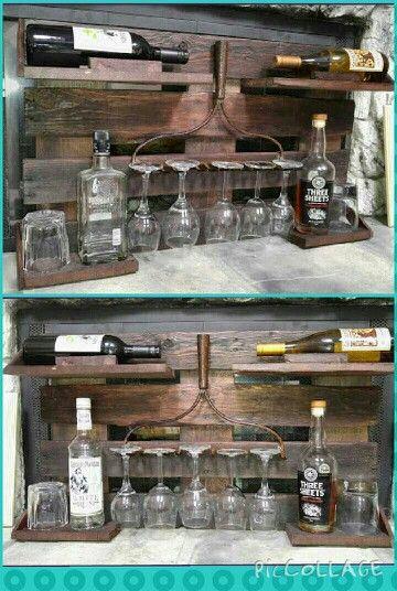 Rustic wine/liquor rack with rake head.