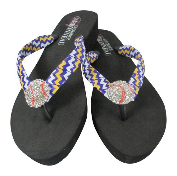 295916bd105848 Flip Flops with Rhinestone Baseball   purple and yellow gold chevron ribbon  straps- any colors