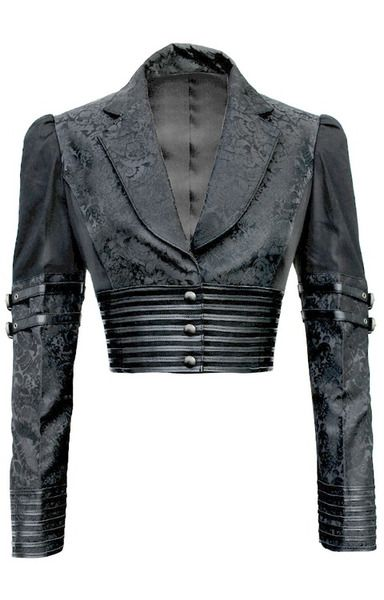 Black Brocade Bolero Jacket-Special Order from The Fashion Corset Shop (note: I had to enhance the image because the original photo on the webshop sucked big time)