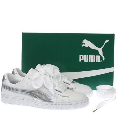 puma basket heart weiß silber