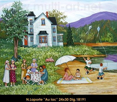 Nicole Laporte original oil painting on canvas #nicolelaporte #art #artist #canadianartist #quebecartist #naiveart #summerscene #lake #picnik #originalpainting #oilpainting #balcondart #multiartltee