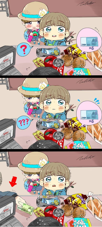 BTS - Ele tava tentando pagar com as notinhas e as flores!!!! MEU DEUS! Que coisa mais fofa!!!