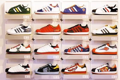 Sneaker display shelves collection of adidas nba for Sneaker wall display