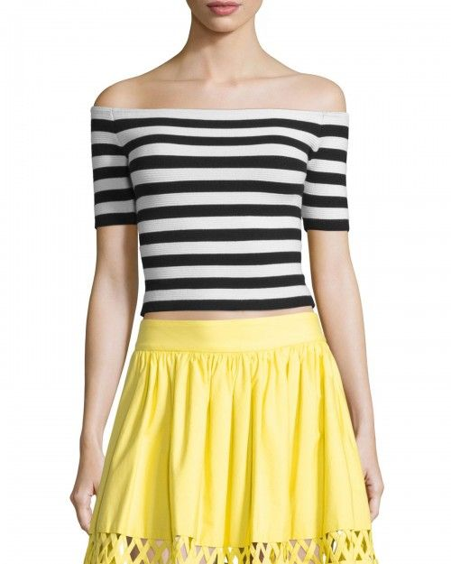 Alice+Olivia+Grant+Striped+Off+the+Shoulder+Cropped+Top+Black+White+Women's+|+Clothing