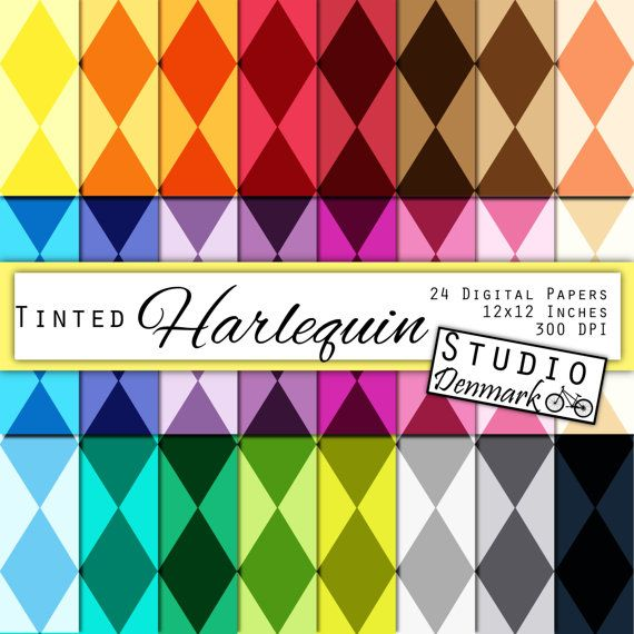 Harlequin Digital Scrapbook Paper - Tinted Diamond Pattern 12 Colors  - Commercial Use - 12x12in - 300 dpi #etsy  #etsymnt