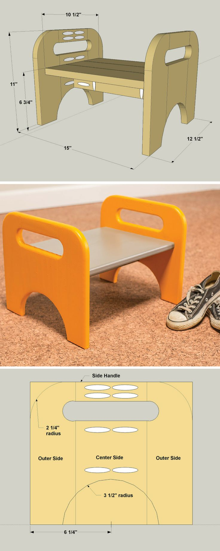 This step stool is a great way to help kids get a little extra height for those times when they want to help out in the kitchen, or when they need to reach a shelf. It's also a great place to perch while putting on shoes. You'll have fun building the step stool, and kids will have fun using it. Get the free DIY plans at buildsomething.com