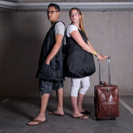 Extra travel items can be stowed in the giant pockets of this wearable luggage to get around strict hand baggage restrictions on low-cost ai...