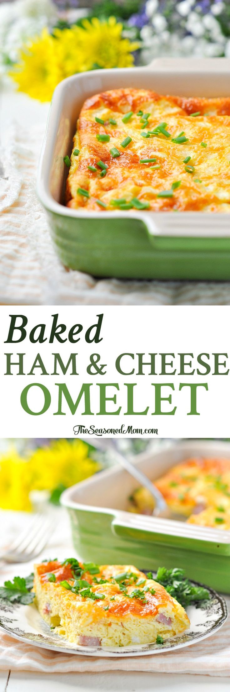 Baked Ham and Cheese Omelet | Healthy Breakfast Recipes | Breakfast Ideas Healthy | Breakfast Casserole | Leftover Ham Recipes | Brunch Ideas | Brunch Recipes | Brunch Party | Egg Recipes
