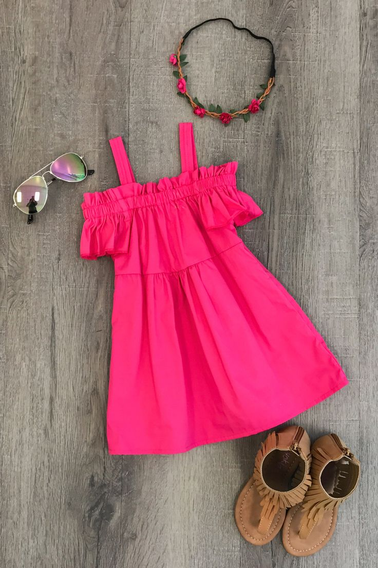 Hot Pink Off-Shoulder Dress