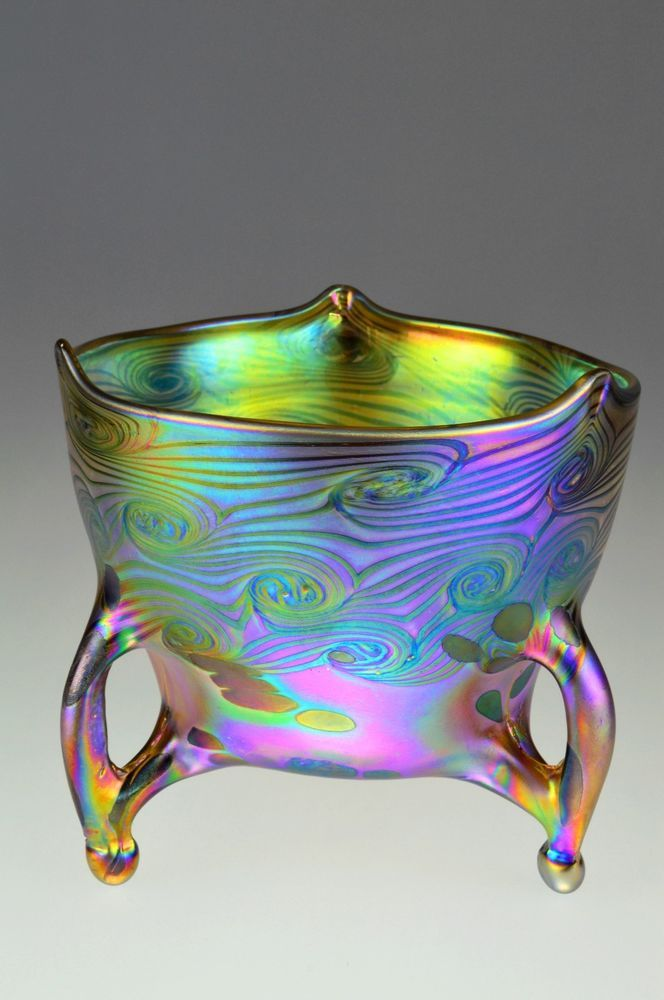Bohemian Art Nouveau Loetz Or Tiffany Style Iridescent Bowl This Stunning Contemporary Piece Of