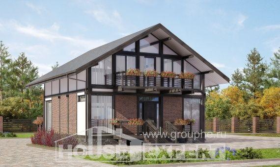 170-007-R Projekt domu dwukondygnacyjnego mansardą, nowoczesny domek wiejski z bali, Gdańsk