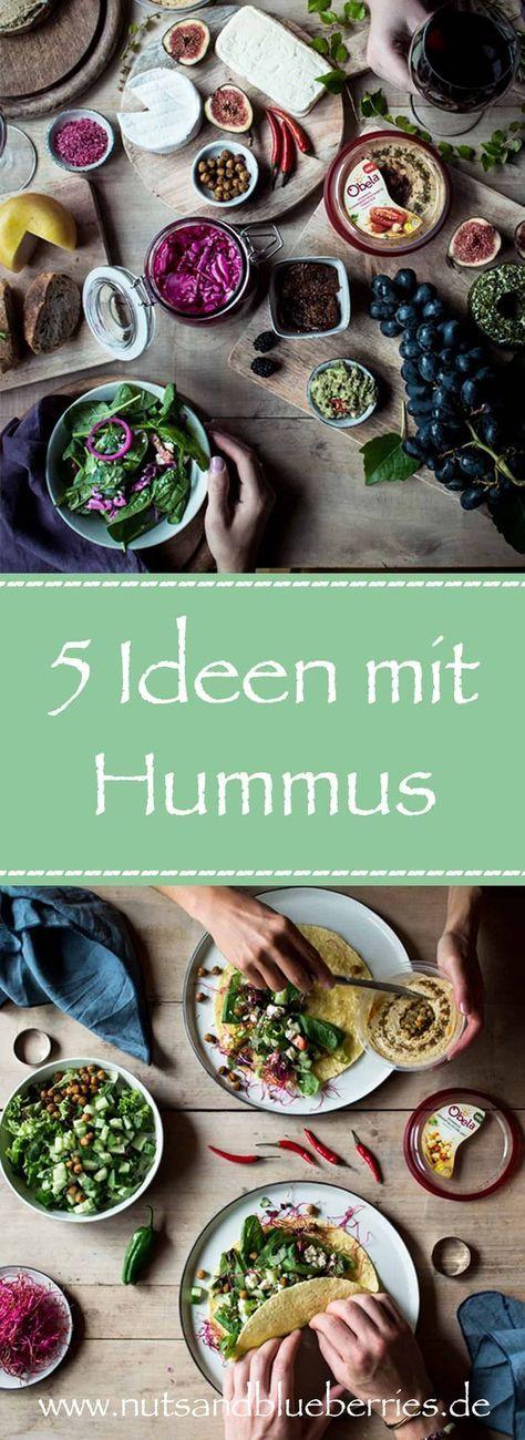 5 Hummus Ideen! Einfach gesund und lecker. Rezepte: eingelegter Rotkohl, Gegrilltes mediterranes Gemüse und Halloumi, Orientalische Wraps mit Feta-Gurken und scharfen gerösteten Kichererbsen und Frische Bagels mit Radieschensprossen. Rezept je auf deutsch! Dieser Beitrag enthält Werbung! Mehr Rezepte und dieses Rezept auf www.nutsandblueberries.de/5-ideen-mit-hummus