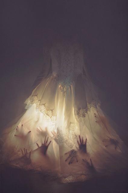 Haunted Bride using flashlights & hand prints (Construction paper? Faux apendages?)