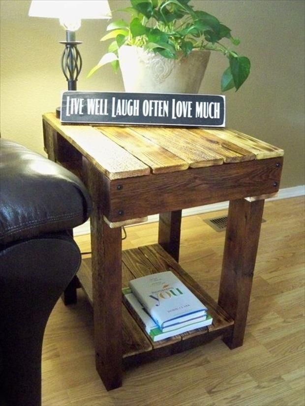 End Table Made From Pallets Wood   I Wonder If This Could Be Adapted To  Make A Table Over The Dog Crate?   Home Decor Idea