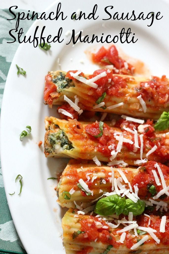 Spinach and Sausage Stuffed Manicotti by simply fresh dinners
