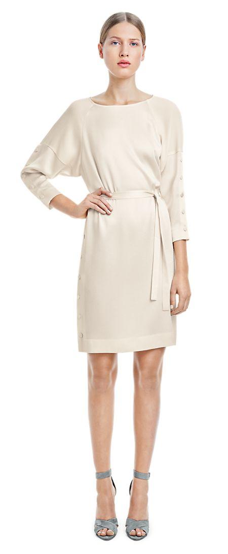 Crepe Cream Button Dress - Dresses - Woman - Filippa K summer 2015 #springtype #lentetype