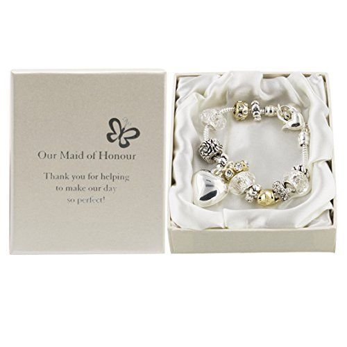 Amore Silver/Gold Bead Charm Bracelet - Maid of Honour  Price : £12.99 http://www.bronzebarngallery.com/Amore-Silver-Gold-Charm-Bracelet/dp/B004LP3T26