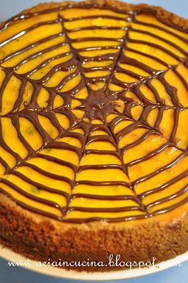 Blog di cucina di Aria: Cheesecake alla zucca e gocce di cioccolato: la mia Torta di Halloween per creare un ricordo
