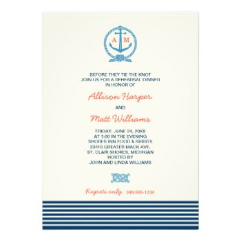 Modern preppy nautical wedding rehearsal dinner invitation design features a wedding monogram displayed inside a boat anchor with accents of rope knots and stripes. Navy blue, ocean blue, tomato orange / red, and soft white / light ivory color scheme. #wedding #rehearsal #dinner #chic #theme #stripe #nautical #monogram #anchor #modern #template #stylish #script #pattern #design #custom #stripes #sea #striped #rope #knot #double #contemporary #seaside #water #harbor #lake #ocean #restaurant…