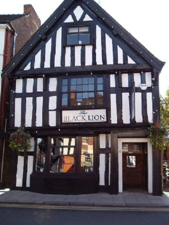 Black Lion, Nantwich -- for a pub dinner with our friends Gwen and Walter