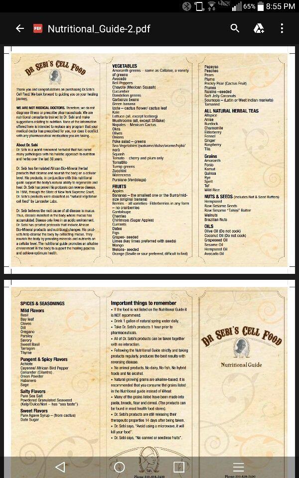 Dr. Sebi's Food List