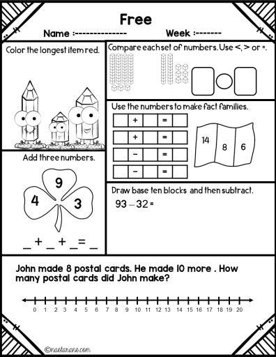 Kindergarten Worksheets Freebie Common Cores First Grade ...