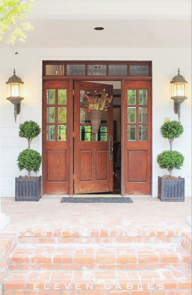 Front Door with source to buy these gorgeous FAUX topiaries | source for fake topiary
