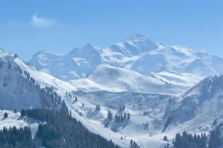 Morzine Skiing with Mont Blanc behind.