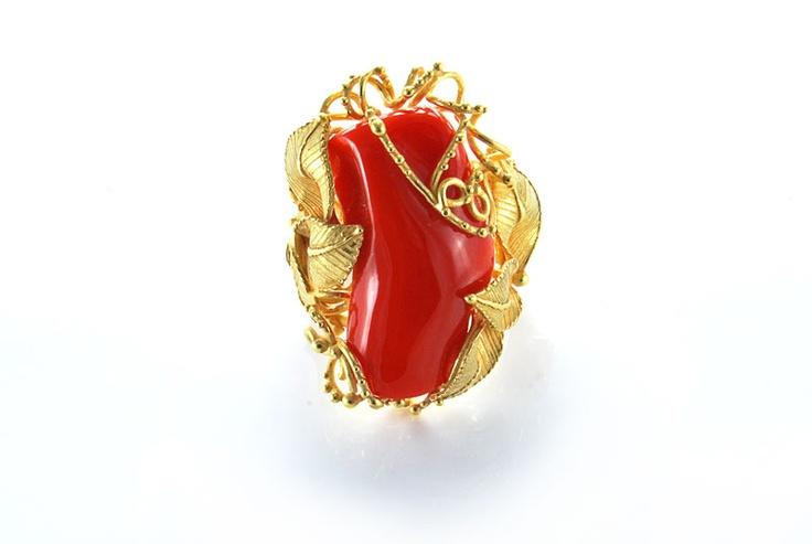 Anello corallo Rosso oro