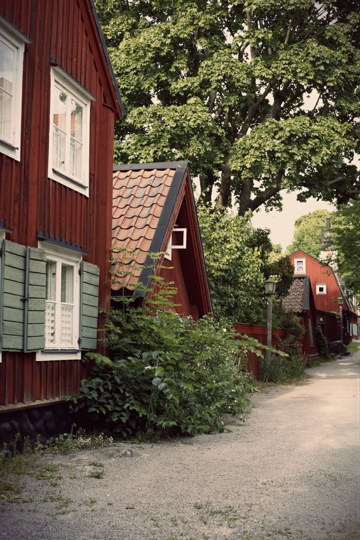 The Picturesque Stigbergsgatan with barn red old houses in Stockholm, Sweden.