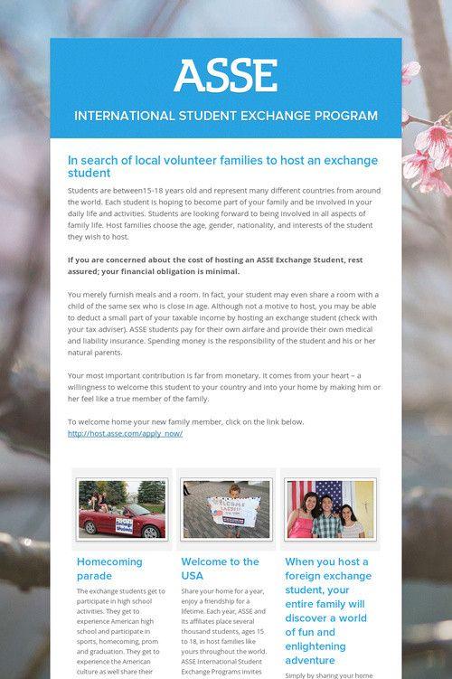 25 best ASSE International Student Exchange Program images on - copy exchange blueprint application